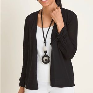 Chico's Black Ruched Sleeve Cardigan